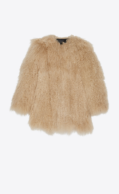 SAINT LAURENT Coats Woman Coat in beige goat fur a_V4