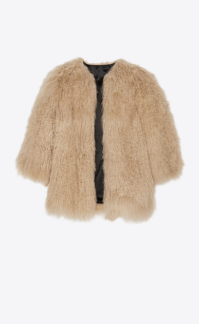 SAINT LAURENT Coats Woman Coat in beige goat fur b_V4