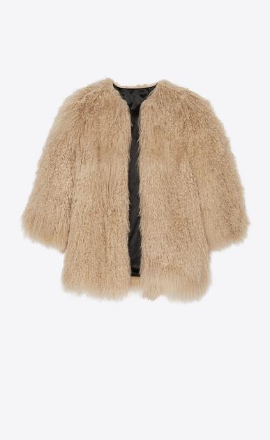SAINT LAURENT Mäntel Damen Mantel aus beigefarbenem Ziegenfell b_V4