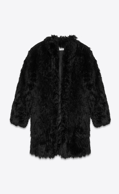 SAINT LAURENT Coats Woman Coat in black alpaca a_V4