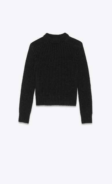 SAINT LAURENT Knitwear Tops Woman Sweater in black knit and suede a_V4