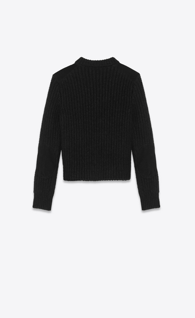 SAINT LAURENT Knitwear Tops Woman Sweater in black knit and suede b_V4
