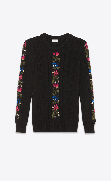 SAINT LAURENT Knitwear Tops Woman Embroidered sweater in a black cable knit a_V4