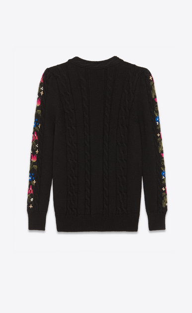 SAINT LAURENT Knitwear Tops Woman Embroidered sweater in a black cable knit b_V4