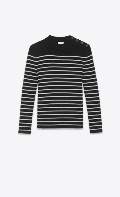 SAINT LAURENT Knitwear Tops Woman Striped sailor sweater in a black and silver a_V4