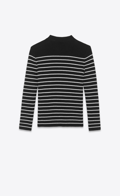 SAINT LAURENT Knitwear Tops Woman Striped sailor sweater in a black and silver b_V4