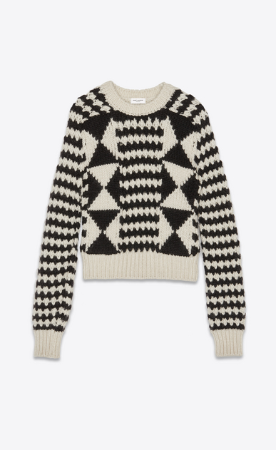 SAINT LAURENT Knitwear Tops Woman Sweater with stripes and diamond shapes in ivory and black a_V4