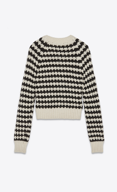 SAINT LAURENT Knitwear Tops Woman Sweater with stripes and diamond shapes in ivory and black b_V4