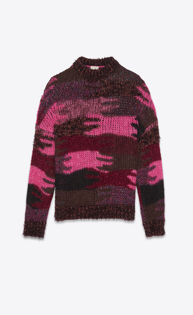 SAINT LAURENT Knitwear Tops Woman Sweater in a pink camouflage jacquard knit a_V4