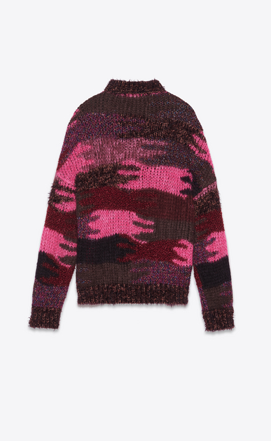 SAINT LAURENT Knitwear Tops Woman Sweater in a pink camouflage jacquard knit b_V4