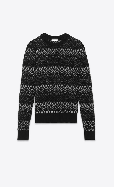 SAINT LAURENT Knitwear Tops Woman Sweater in black and silver Lurex zigzag knit a_V4