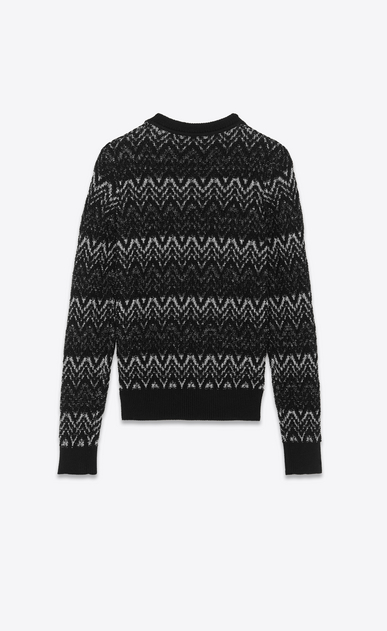 SAINT LAURENT Knitwear Tops Woman Sweater in black and silver Lurex zigzag knit b_V4