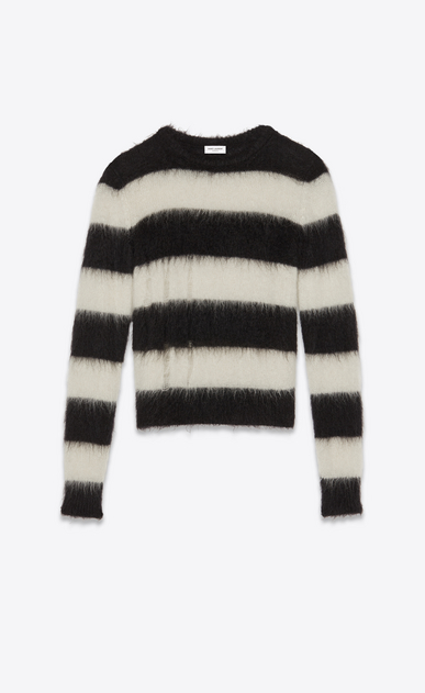 SAINT LAURENT Knitwear Tops Woman Striped sweater in black and white mohair a_V4