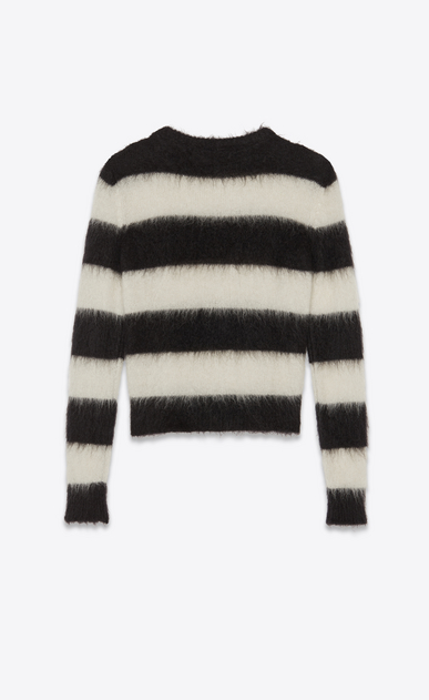 SAINT LAURENT Knitwear Tops Woman Striped sweater in black and white mohair b_V4