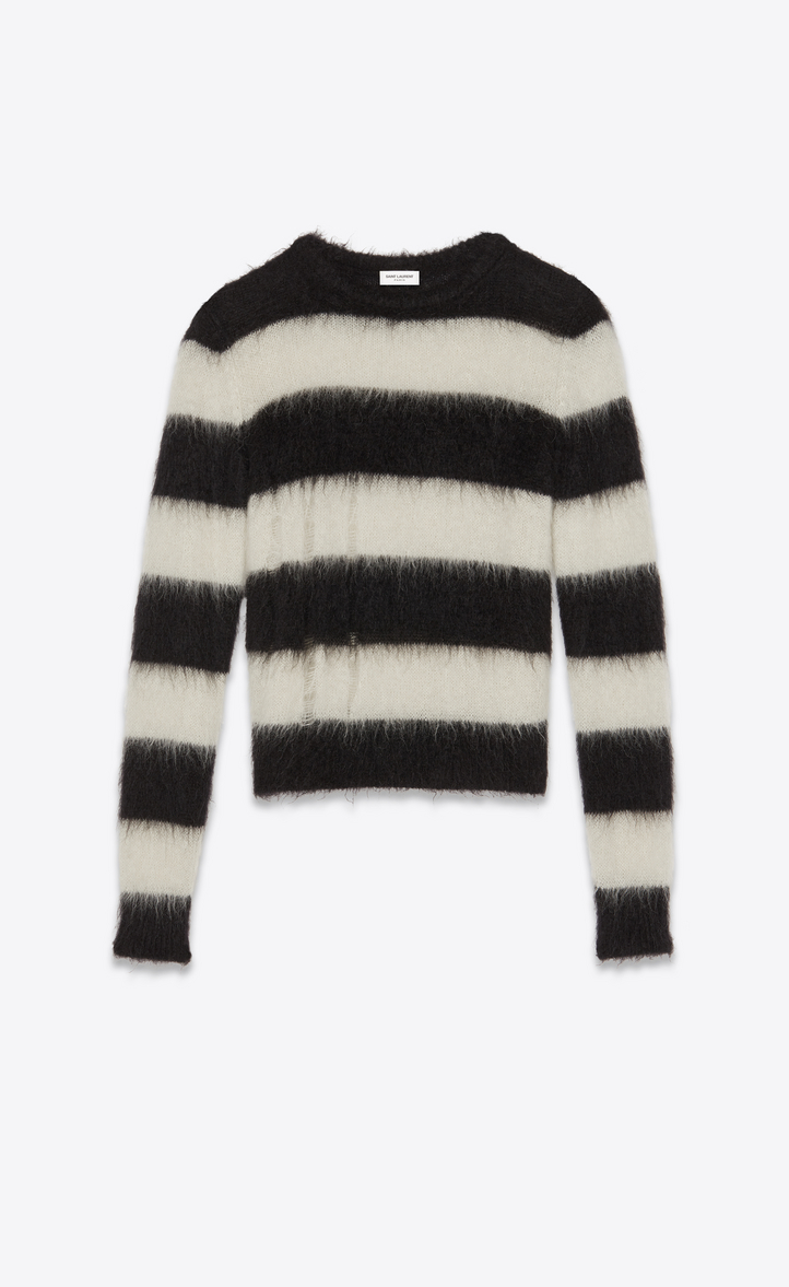 Striped Sweater In Black And White Mohair