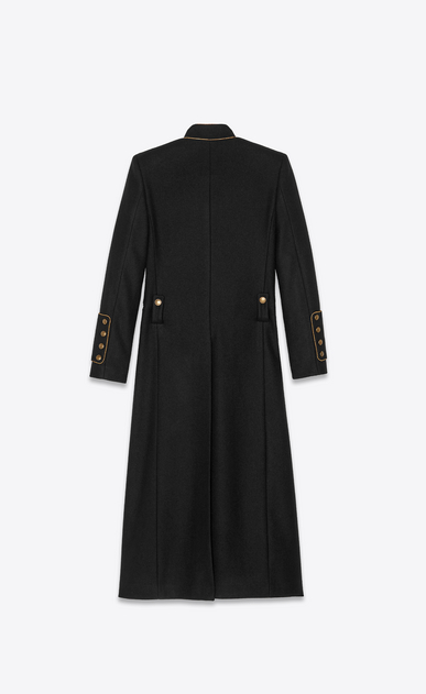 SAINT LAURENT Cappotti Donna Cappotto officer in feltro di lana nero b_V4