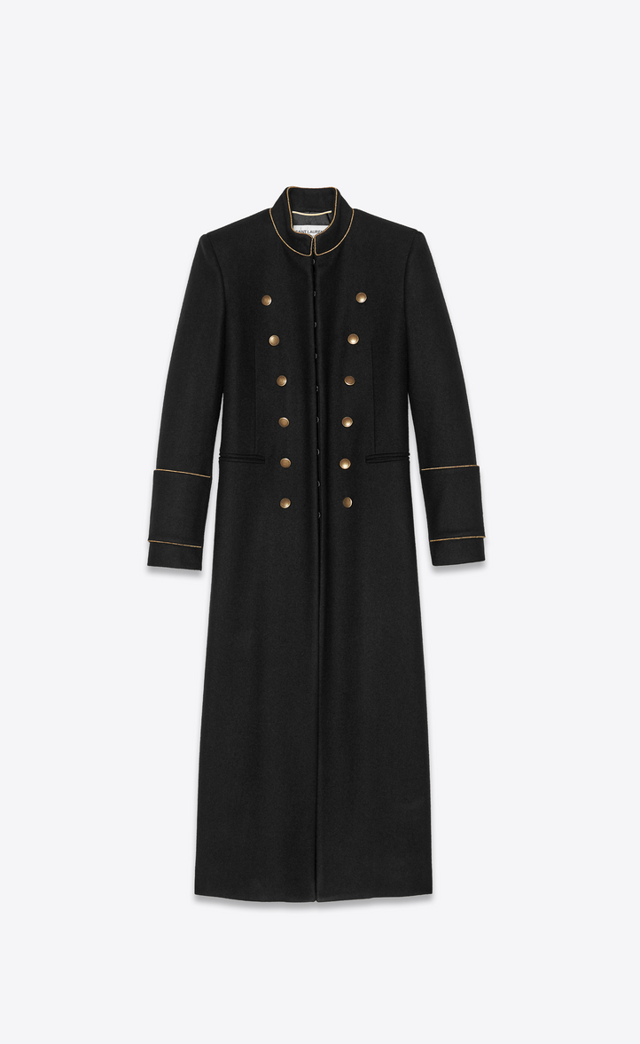 OFFICER COAT IN BLACK MOTTLED FELT