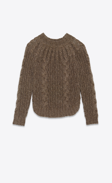 SAINT LAURENT Knitwear Tops Woman Sweater in a gold Aran cable knit a_V4