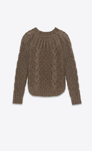 SAINT LAURENT Knitwear Tops Woman Sweater in a gold Aran cable knit b_V4