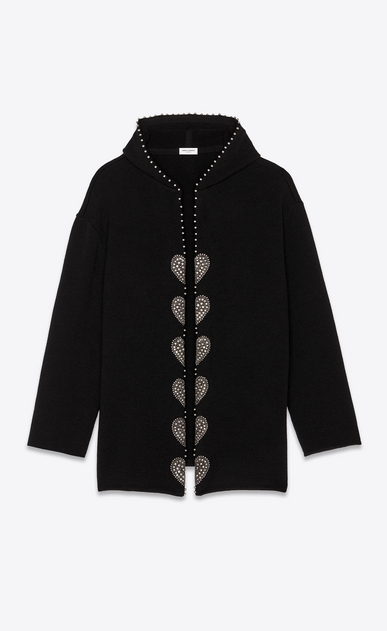 SAINT LAURENT Knitwear Tops Woman Studded baja embroidered with black wool a_V4