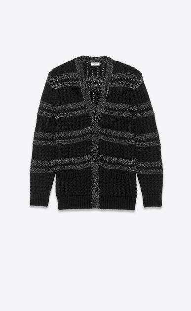 SAINT LAURENT Knitwear Tops Woman Striped cardigan in a black and silver cable knit a_V4