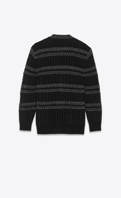 SAINT LAURENT Knitwear Tops Woman Striped cardigan in a black and silver cable knit b_V4
