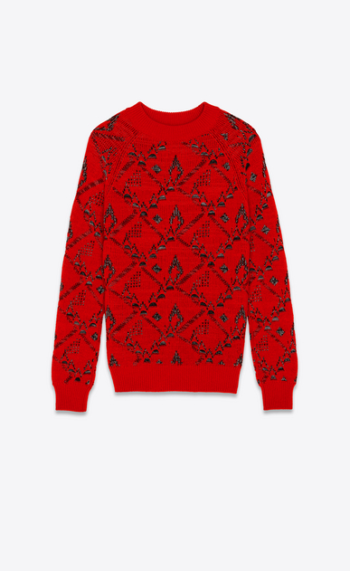 SAINT LAURENT Knitwear Tops Woman Sweater in a red floral jacquard knit a_V4