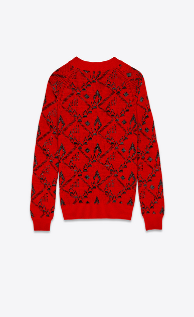 SAINT LAURENT Knitwear Tops Woman Sweater in a red floral jacquard knit b_V4