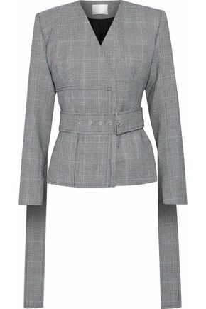 SOLACE LONDON Alizze Prince of Wales checked wool and cotton-blend jacket