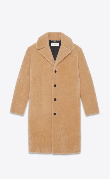 SAINT LAURENT Leather jacket Man coat in honey shearling a_V4