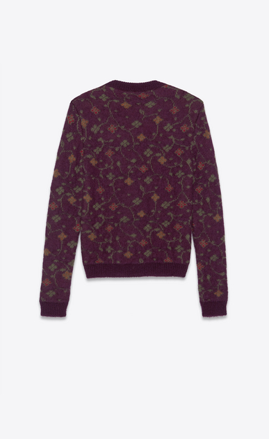 SAINT LAURENT Knitwear Tops Man Sweater in a purple floral jacquard knit b_V4