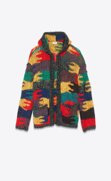 SAINT LAURENT Knitwear Tops Man Baja in a multicolored camouflage jacquard knit a_V4