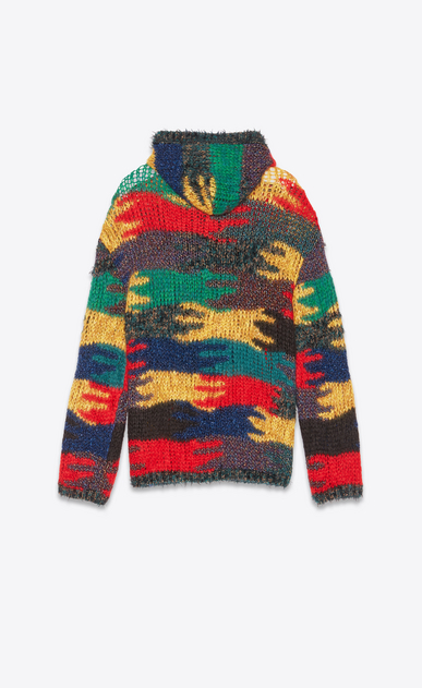 SAINT LAURENT Knitwear Tops Man Baja in a multicolored camouflage jacquard knit b_V4