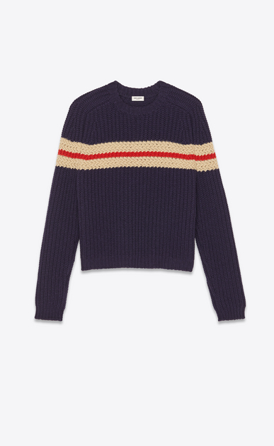 SAINT LAURENT Knitwear Tops Man Ribbed sweater in navy blue a_V4