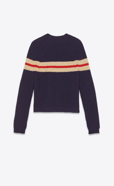 SAINT LAURENT Knitwear Tops Man Côte perlée striped knitted jumper b_V4