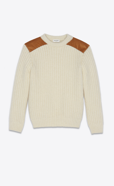 SAINT LAURENT Knitwear Tops Man Sweater in ivory knit and camel suede a_V4