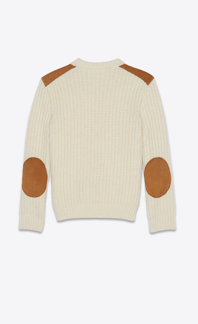 SAINT LAURENT Knitwear Tops Man Sweater in ivory knit and camel suede b_V4