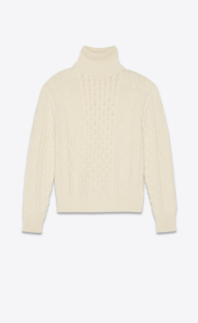 SAINT LAURENT Knitwear Tops Man Roll neck sweater in an ivory cable knit a_V4