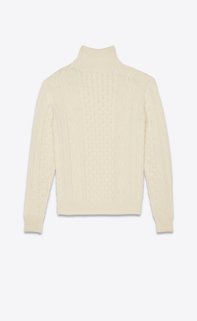 SAINT LAURENT Knitwear Tops Man Roll neck sweater in an ivory cable knit b_V4