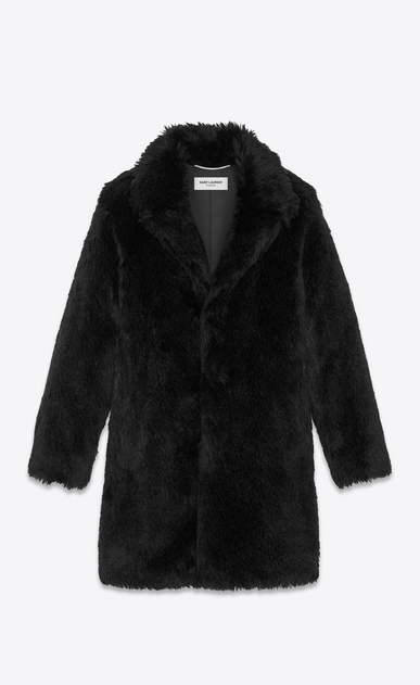 SAINT LAURENT Coats Man Raglan coat in black faux fur a_V4