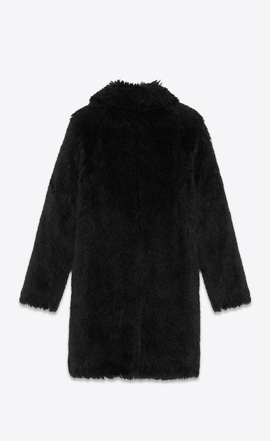 SAINT LAURENT Coats Man Raglan coat in black faux fur b_V4