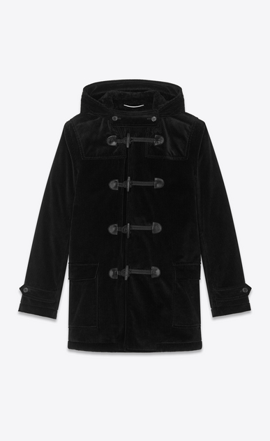 SAINT LAURENT Coats Man Duffle coat in black corduroy a_V4