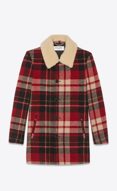 SAINT LAURENT Coats Man Checked trapper jacket with shearling collar a_V4