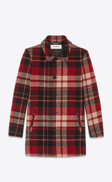 SAINT LAURENT Coats Man Checked trapper jacket with shearling collar b_V4