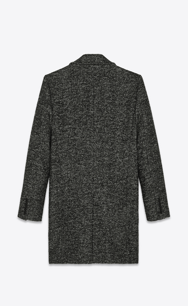 SAINT LAURENT Coats Man Pea coat in black and white chevron wool b_V4