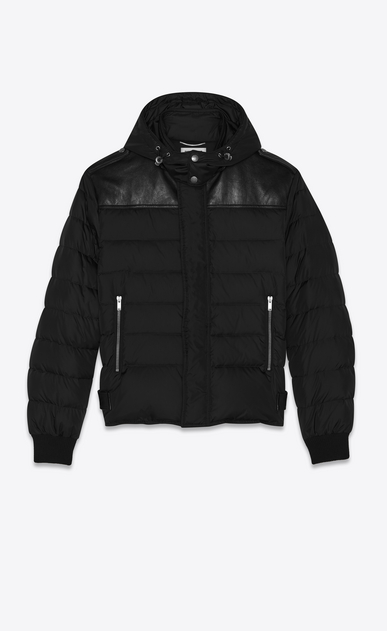 SAINT LAURENT Coats Man nylon and leather down jacket a_V4