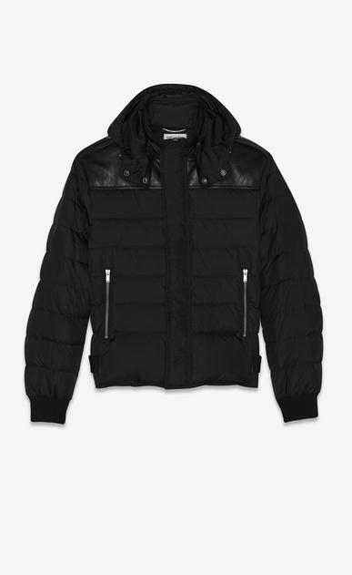 SAINT LAURENT Coats Man Hooded puffy jacket in nylon and black leather b_V4