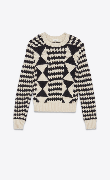 SAINT LAURENT Knitwear Tops Man Boxy graphic sweater in a black and white knit a_V4