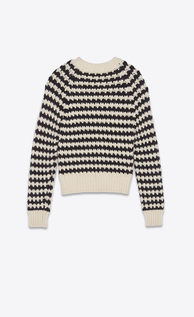 SAINT LAURENT Knitwear Tops Man Boxy graphic sweater in a black and white knit b_V4