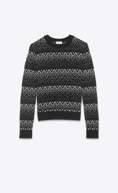 SAINT LAURENT Knitwear Tops Man Sweater in black and silver zigzag knit a_V4